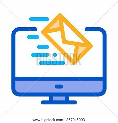 Received Letter To Computer Icon Vector. Received Letter To Computer Sign. Isolated Contour Symbol I