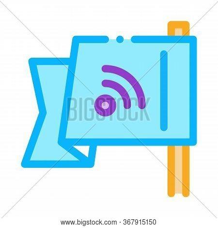 Search Engine Optimization Destination Flag Icon Vector. Search Engine Optimization Destination Flag