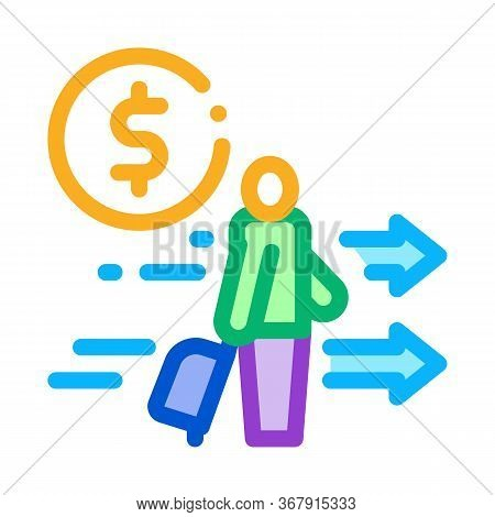 Man With Suitcase With Money Icon Vector. Man With Suitcase With Money Sign. Isolated Contour Symbol
