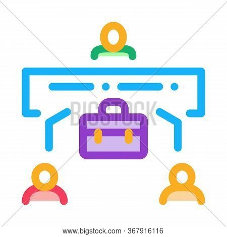 Realtor With Buyer And Seller Icon Vector. Realtor With Buyer And Seller Sign. Isolated Contour Symb
