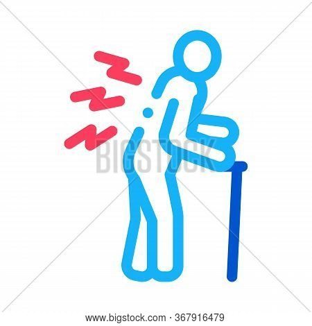 Senile Arthritis Of Back Icon Vector. Senile Arthritis Of Back Sign. Isolated Contour Symbol Illustr