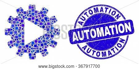 Geometric Start Gear Automation Mosaic Pictogram And Automation Seal. Blue Vector Round Scratched Se