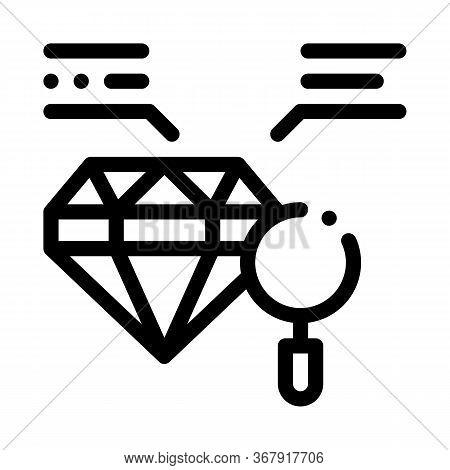 Inspection Study Diamond Stone Icon Vector. Inspection Study Diamond Stone Sign. Isolated Contour Sy