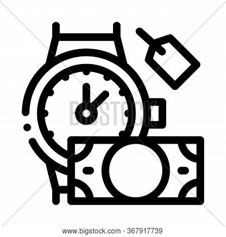 Hand Over Wristwatch For Money To Pawnshop Icon Vector. Hand Over Wristwatch For Money To Pawnshop S
