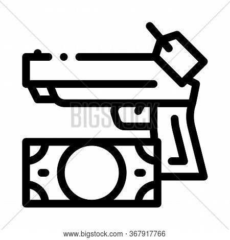 Give Gun To Pawnshop For Money Icon Vector. Give Gun To Pawnshop For Money Sign. Isolated Contour Sy