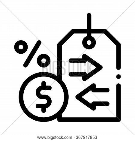 Cash Interest Price Tag Icon Vector. Cash Interest Price Tag Sign. Isolated Contour Symbol Illustrat