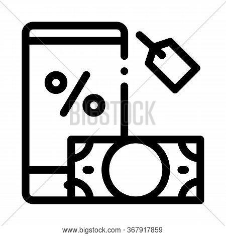 Money Phone Pledge Icon Vector. Money Phone Pledge Sign. Isolated Contour Symbol Illustration