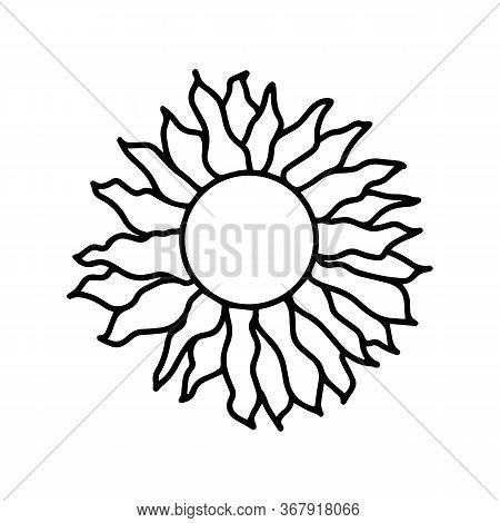 Cute Hand Drawn Doodle Slavic Sun Icon. Isolated On White Background. Vector Stock Illustration.