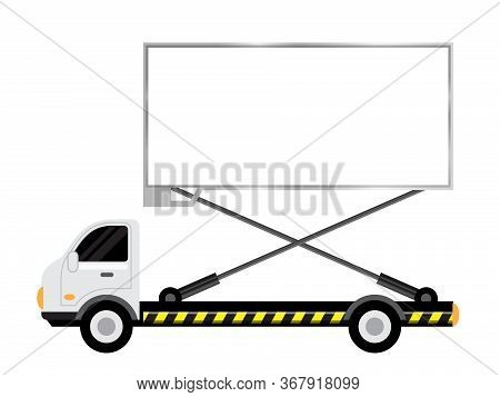 Car Truck With Billboards White For Copy Space, Large Billboard Sign On Side Truck