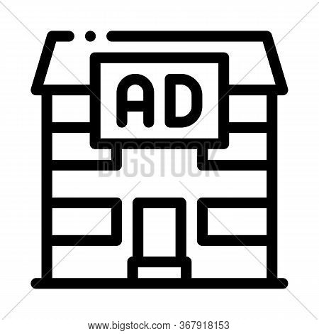 Residential Ad Icon Vector. Residential Ad Sign. Isolated Contour Symbol Illustration