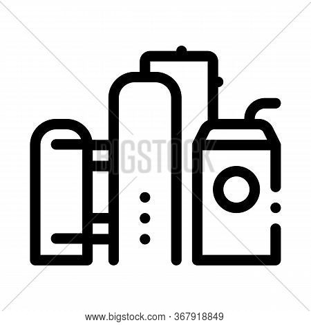 Gas Supply Station Icon Vector. Gas Supply Station Sign. Isolated Contour Symbol Illustration