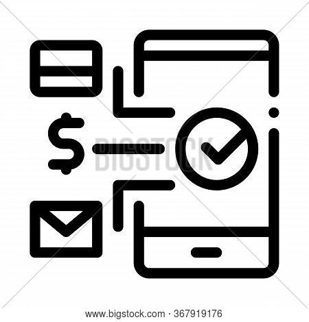 Payment By Telephone Icon Vector. Payment By Telephone Sign. Isolated Contour Symbol Illustration