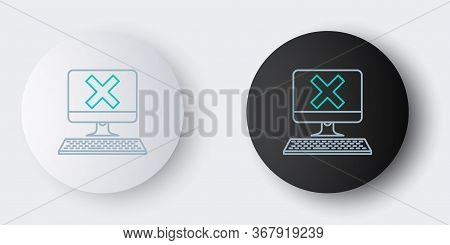 Line Computer With Keyboard And X Mark Icon Isolated On Grey Background. Error Window, Exit Button,