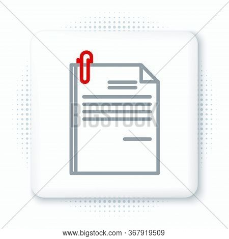 Line File Document And Paper Clip Icon Isolated On White Background. Checklist Icon. Business Concep