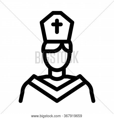 Priest Preacher Icon Vector. Priest Preacher Sign. Isolated Contour Symbol Illustration
