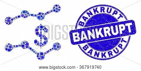 Geometric Dollar Trend Charts Mosaic Pictogram And Bankrupt Seal Stamp. Blue Vector Rounded Grunge S