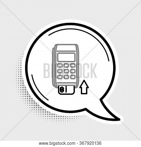 Line Pos Terminal With Inserted Credit Card Icon Isolated On Grey Background. Payment Terminal Trans