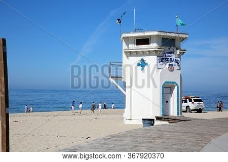 5-20-2020 Laguna Beach, CA. USA: Laguna Beach during the Coronavirus aka Covid-19 Lock Down. A few people dare to visit the beach during the lock down from the government.