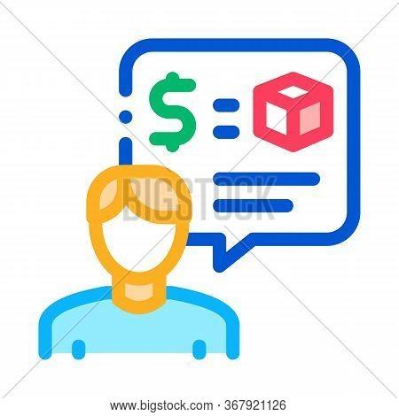 Pawnshop Representative Employee Icon Vector. Pawnshop Representative Employee Sign. Color Symbol Il