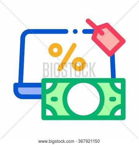 Give Laptop To Pawnshop Icon Vector. Give Laptop To Pawnshop Sign. Color Symbol Illustration
