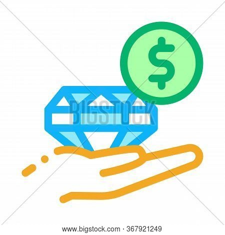 Selling Diamond For Money Icon Vector. Selling Diamond For Money Sign. Color Symbol Illustration