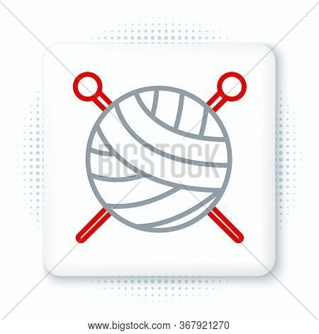 Line Yarn Ball With Knitting Needles Icon Isolated On White Background. Label For Hand Made, Knittin