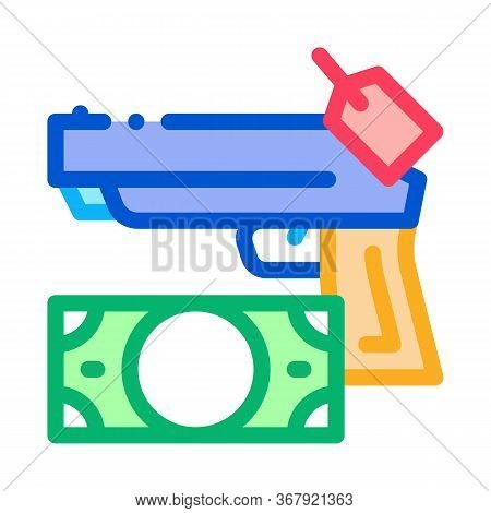 Give Gun To Pawnshop For Money Icon Vector. Give Gun To Pawnshop For Money Sign. Color Symbol Illust