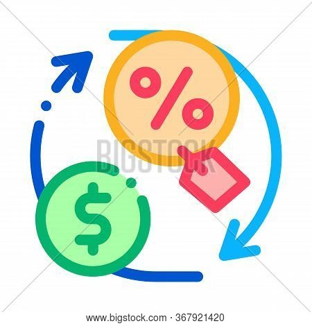 Cycle Of Money And Interest Icon Vector. Cycle Of Money And Interest Sign. Color Symbol Illustration