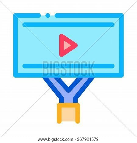 Installed Video Ads Icon Vector. Installed Video Ads Sign. Color Symbol Illustration