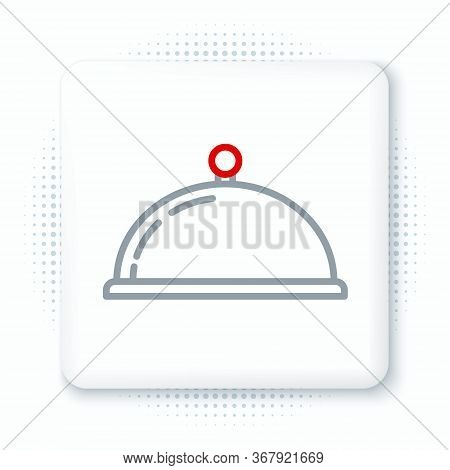 Line Covered With A Tray Of Food Icon Isolated On White Background. Tray And Lid Sign. Restaurant Cl