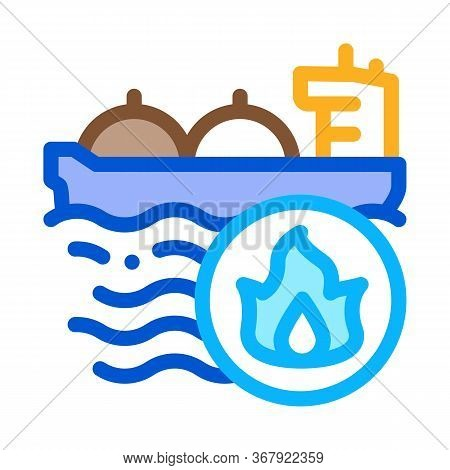 Gas Outlets At Sea Icon Vector. Gas Outlets At Sea Sign. Color Symbol Illustration