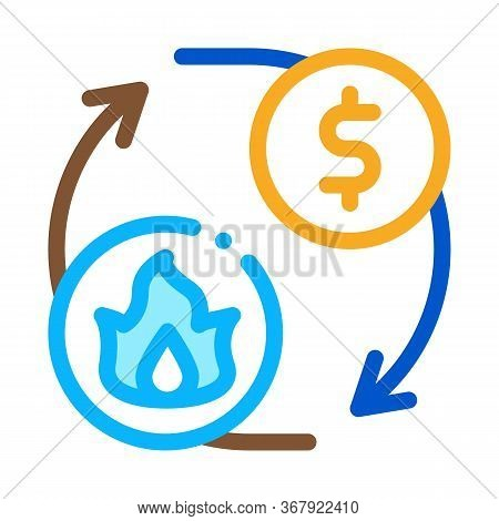 Sale Gas Supply For Money Icon Vector. Sale Gas Supply For Money Sign. Color Symbol Illustration