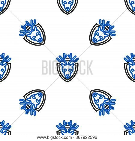 Line Deer Head With Antlers On Shield Icon Isolated Seamless Pattern On White Background. Hunting Tr