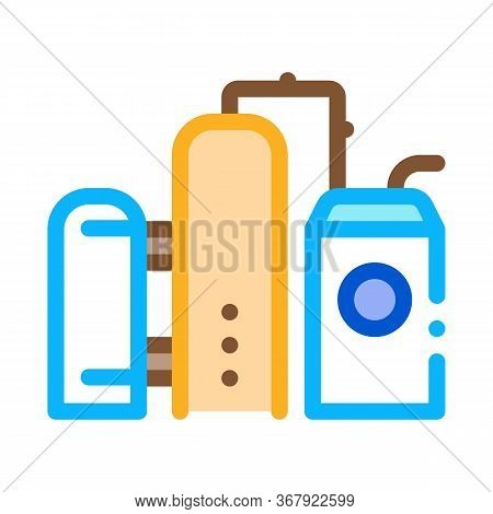 Gas Supply Station Icon Vector. Gas Supply Station Sign. Color Symbol Illustration