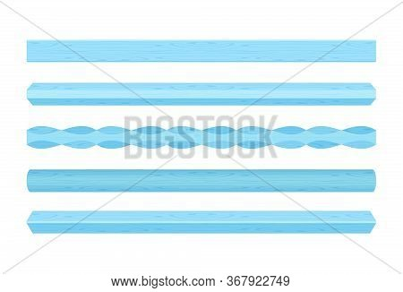 Wooden Vertical Lath Different Blue Pastel Soft Colors Isolated On White
