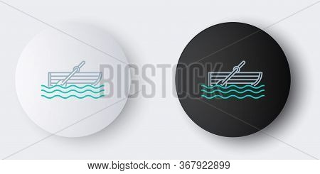 Line Fishing Boat With Oars On Water Icon Isolated On Grey Background. Colorful Outline Concept. Vec