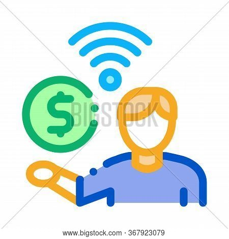 Paid Wifi Services Icon Vector. Paid Wifi Services Sign. Color Symbol Illustration
