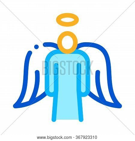 Holy Angel With Wings Icon Vector. Holy Angel With Wings Sign. Color Symbol Illustration