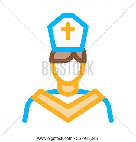 Priest Preacher Icon Vector. Priest Preacher Sign. Color Symbol Illustration
