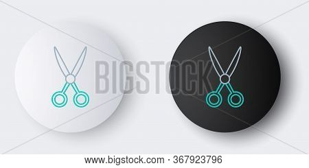 Line Scissors Hairdresser Icon Isolated On Grey Background. Hairdresser, Fashion Salon And Barber Si
