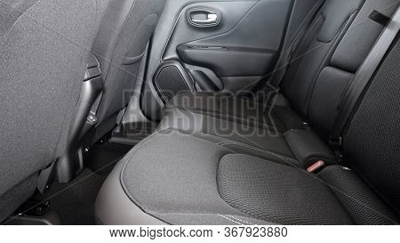 Modern car rear seats gray textile modern interior