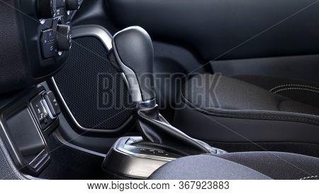 Modern car transmission lever interior front seats