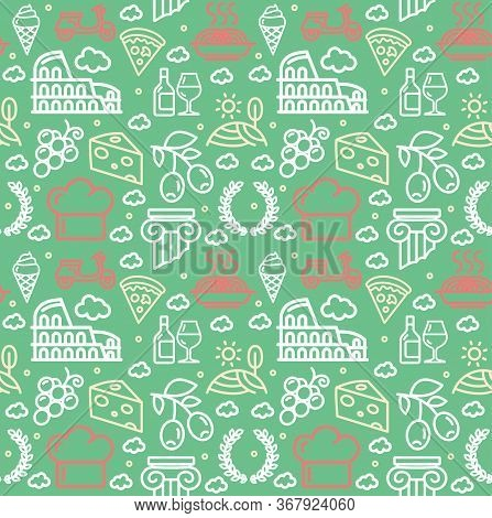 Italy Signs Seamless Pattern Background On A Green Include Of Gelato, Spaghetti And Pizza. Vector Il