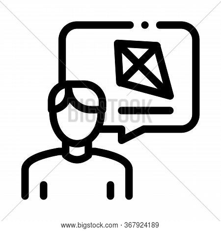 Human Desire To Fly Kite Icon Vector. Human Desire To Fly Kite Sign. Isolated Contour Symbol Illustr
