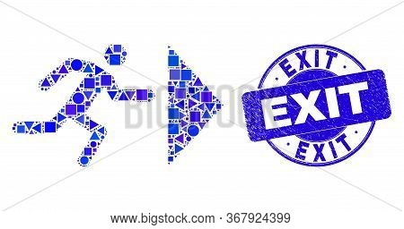 Geometric Exit Person Mosaic Pictogram And Exit Seal. Blue Vector Round Grunge Seal Stamp With Exit