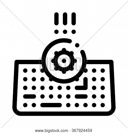 Bacteria On Computer Keyboard Icon Vector. Bacteria On Computer Keyboard Sign. Isolated Contour Symb