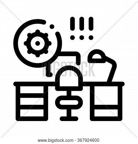 Harmful Bacteria In Working Room Icon Vector. Harmful Bacteria In Working Room Sign. Isolated Contou
