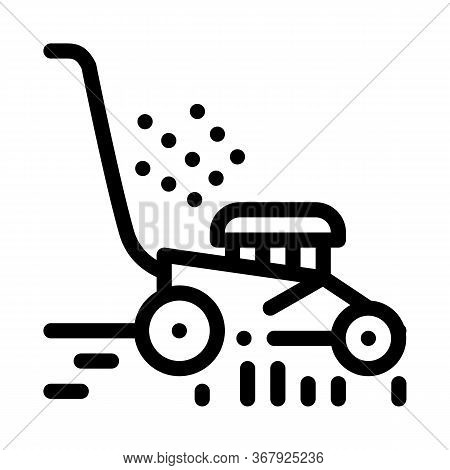 Lawn Mower Machine Icon Vector. Lawn Mower Machine Sign. Isolated Contour Symbol Illustration