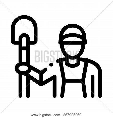Shovel Worker Icon Vector. Shovel Worker Sign. Isolated Contour Symbol Illustration