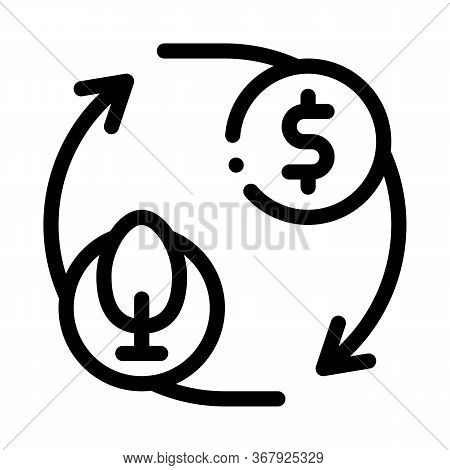 Cycle Of Trees And Money Icon Vector. Cycle Of Trees And Money Sign. Isolated Contour Symbol Illustr